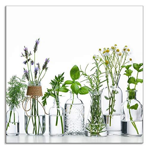 Artland Spritzschutz Küche aus Alu für Herd Spüle 60x60 cm Küchenrückwand mit Motiv Pflanzen Kräuter Gewürze Lavendel Basilikum Blumen H9KE