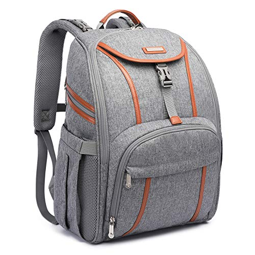 Baby Diaper Bag Backpack, Multifunctional Waterproof Nappy Changing Bags, for Mom and Dad's Travel, Lightweight Neutral High-Capacity Diaper Pad Rucksack, USB Charging Port, Baby Stroller Strap, Gray