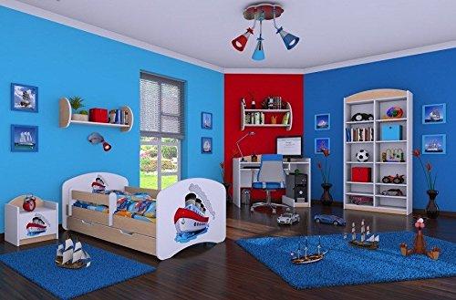 naka24 6 - teiliges Set Jugendzimmer Kindermöbel Zimmermöbel Schiff mit Kinderbett (180x90, Schiff)