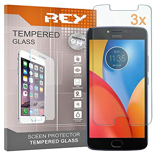 REY Pack 3X Panzerglas Schutzfolie für Motorola Moto E4, Bildschirmschutzfolie 9H+ Festigkeit, Anti-Kratzen, Anti-Öl, Anti-Bläschen