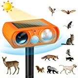 Ultrasonic Dog Chaser,Orange Animal Deterrent with Motion Sensor and Flashing Lights Outdoor Solar Farm Garden Yard Repellent,Dogs, Cats, Birds