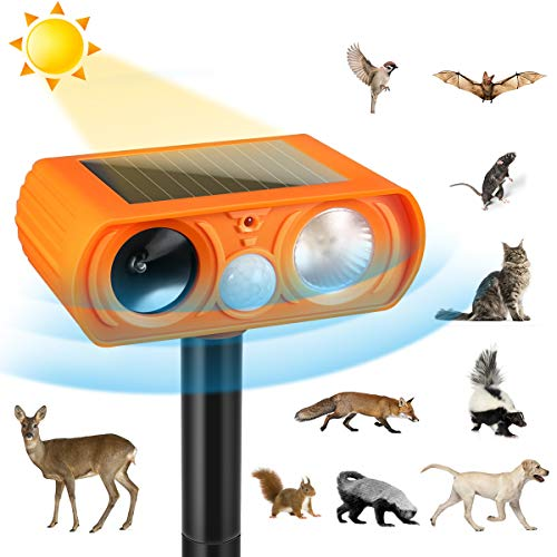Ultrasonic Dog Chaser,Orange Animal Deterrent with Motion Sensor and Flashing Lights Outdoor Solar Farm Garden Yard Repellent,Dogs, Cats, Birds