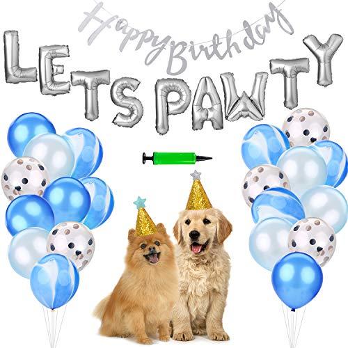 Legendog Hond Verjaardag Ballonnen, Blauw Roze Confetti Ballonnen Voor Hond Dier Partij Decoraties-Biologisch afbreekbare Pailletten Latex Ballonnen met Ballonpomp