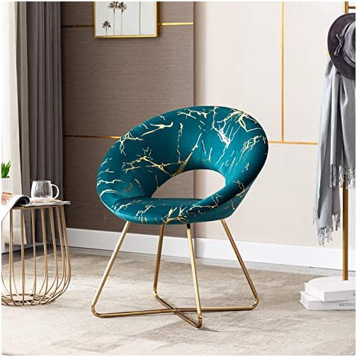 Duhome Atrovirens Accent Chair Velvet Vanity Chair Lliving Room Chairs Desk Chair with Golden Legs Mid-Back 1 pcs