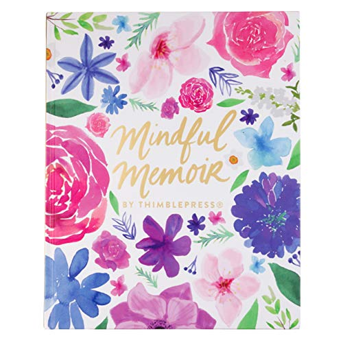 Thimblepress Mindful Memoir, Guided Lists, Full-Page Inspiring Art, Free-Form Doodling and Journal Writing, Hard-Cover 8x10-inches