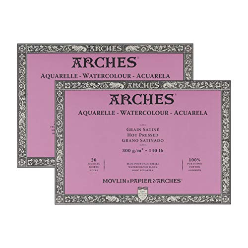 Arches Watercolor Paper Block, Hot Press, 9' x 12', 140 Pound - 2 Pack