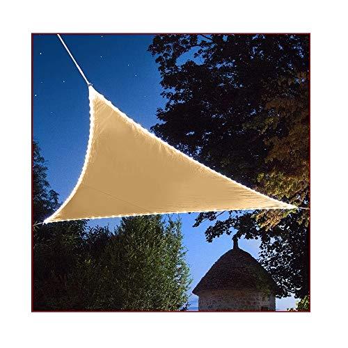 Duke-Handel Sonnensegel Mit LED Beleuchtung Aus Solarenergie Sonnenschutz Für Garten Oder Terrasse Luftdurchlässig Und Atmungsaktiv (Beige Dreieck 3,6x3,6x3,6m)