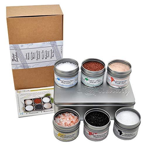 direct&friendly Geschenkset 6-Kontinente Salze 6 Gourmetsalze mit unterschiedlicher Farbe, Körnung, Aroma und Konsistenz 100% naturrein nicht raffiniert ohne Rieselhilfe und nicht jodiert aus 6 Kontinenten