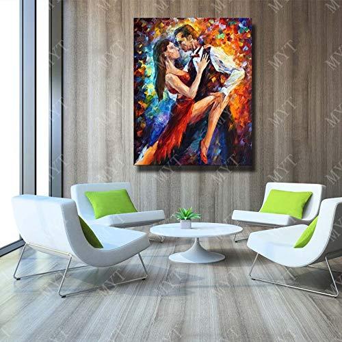tzxdbh Abstrakte Moderne Handgemalte Mann und Frau Tanzen Ölgemälde auf Leinwand Wandkunst Wohnkultur Messer Malerei Kein Eingerahmt