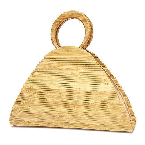 CestnYuun Verano Playa Acrílico Playa Vacaciones Bolso de Bambú Mujer Ratán Paja Bolso de Mano al Aire Libre Regalo para Mujeres (natural)