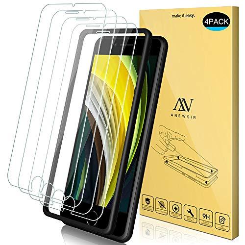 """ANEWSIR 4X Compatibile con iPhone SE 2020 Vetro Temperato, 9H Durezza Ultra Resistente Anti-Graffo/Olio/Impronta HD Chiaro Screen Protector Compatibile con iPhone SE 2020/8 /7/6 /6S (4.7"""")"""