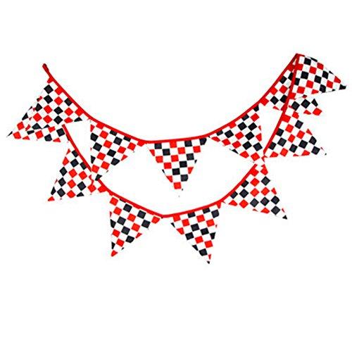 Dosige Blumen Bunting Gewebe Fahne Dreieck Wimpel mit 12 Stück Wimpel Girlanden Hochzeits Geburtstags Party Dekoration Rot schwarz und weiß