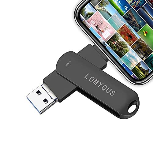 terabyte flash drive for computers Flash Drive for iPhone 128GB Photo Stick USB Storage LOMYGUS USB Flash Drive Compatible iOS Android and Computer(Black 128GB)