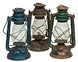 Vecchia lanterna a petrolio in metallo L15xPR15xH32 cm finiture assortite...