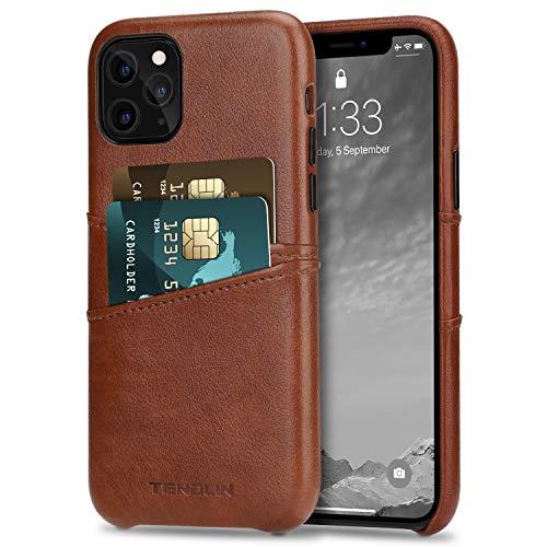 TENDLIN Funda iPhone 11 Pro MAX Carcasa de Cartera de Cuero Premium con 2 Ranuras para Tarjetas (Marrón)