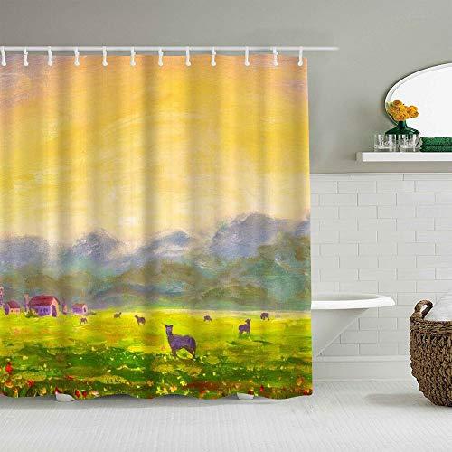 SUHOM Duschvorhang,Bauernhof Sommer ländliche Landschaft Kühe Dawn Hill handgemachte Ölgemälde Blumen,personalisierte Deko Badezimmer Vorhang,mit Haken,180 * 210