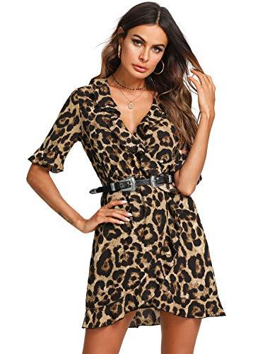 SOLY HUX Mujer Vestido Leopardo Mini Corto de Manga Corta Fiesta Sexy para Invierno o Otono