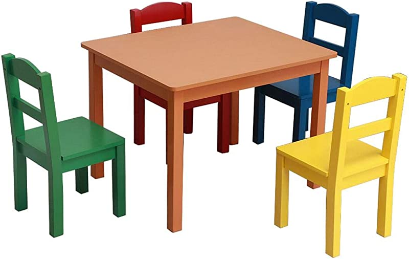 Kids Wood Table 4 Chair Set Toddler Activity Chair Best For Toddlers Reading Train Art Play