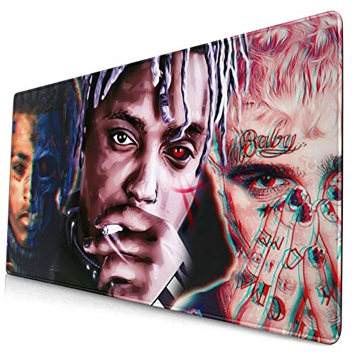 Lil Peep Mouse Pad Gaming Mouse Pads Non-Slip Rubber Base Mouse Pad Desk Accessories Keyboard Pad Large Size (29.5x15.8 in / 75x40cm) for Work Gaming Office Home