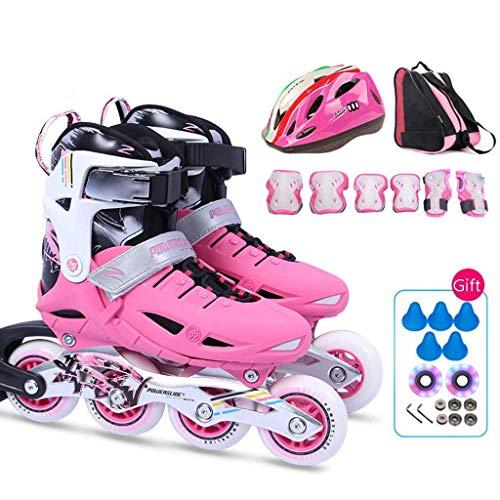 Taoke Jugend Inline Skates, Blau Einstellbare Kinder Rollschuhe, Rosa Jungen und Mädchen Roller Skates (Farbe: Pink, Größe: S (EU 27-30)) dongdong (Color : Pink, Size : S (EU 2730))