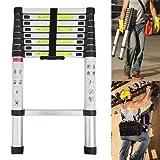 8.5Ft 2.6M Telescopic Extendable Ladders Portable Folding Extension Aluminium Ladder - 9 Steps - 330lbs Capacity, for Home Garden DIY Builder