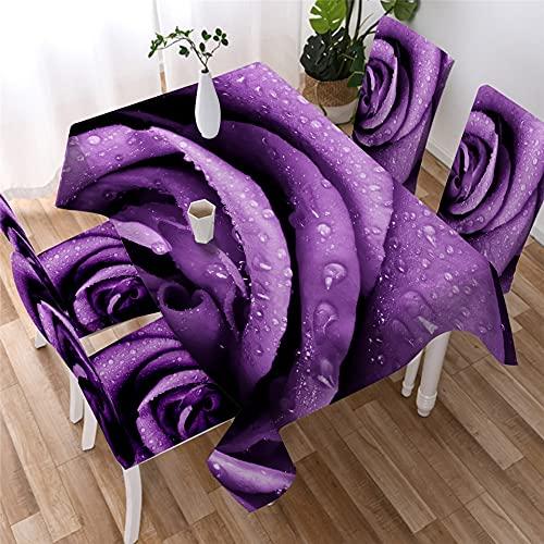 XXDD Mantel de Rosas de Colores con Estampado 3D, Mantel de Cena Impermeable para fotografía, decoración del hogar, Cubierta de Mesa de Flores, A5 150x210cm