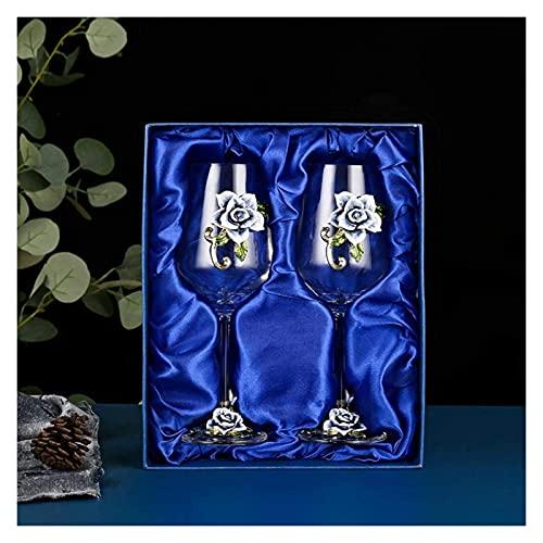 Rose Red / Blanco Copa de vino, Pintado hecho a mano Flor de esmalte Gin Copa de vino de vino de vino largo plomo Copas de vino de cristal libre, regalos ideales para mujeres Mamá Amigos Día de las ma