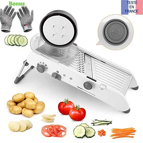 Tasty health Mandoline de Cuisine Multifonctions Coupe légumes de qualité Professionnel Robuste, Peu encombrant et Facile à Utiliser pour la découpes de Vos légumes…