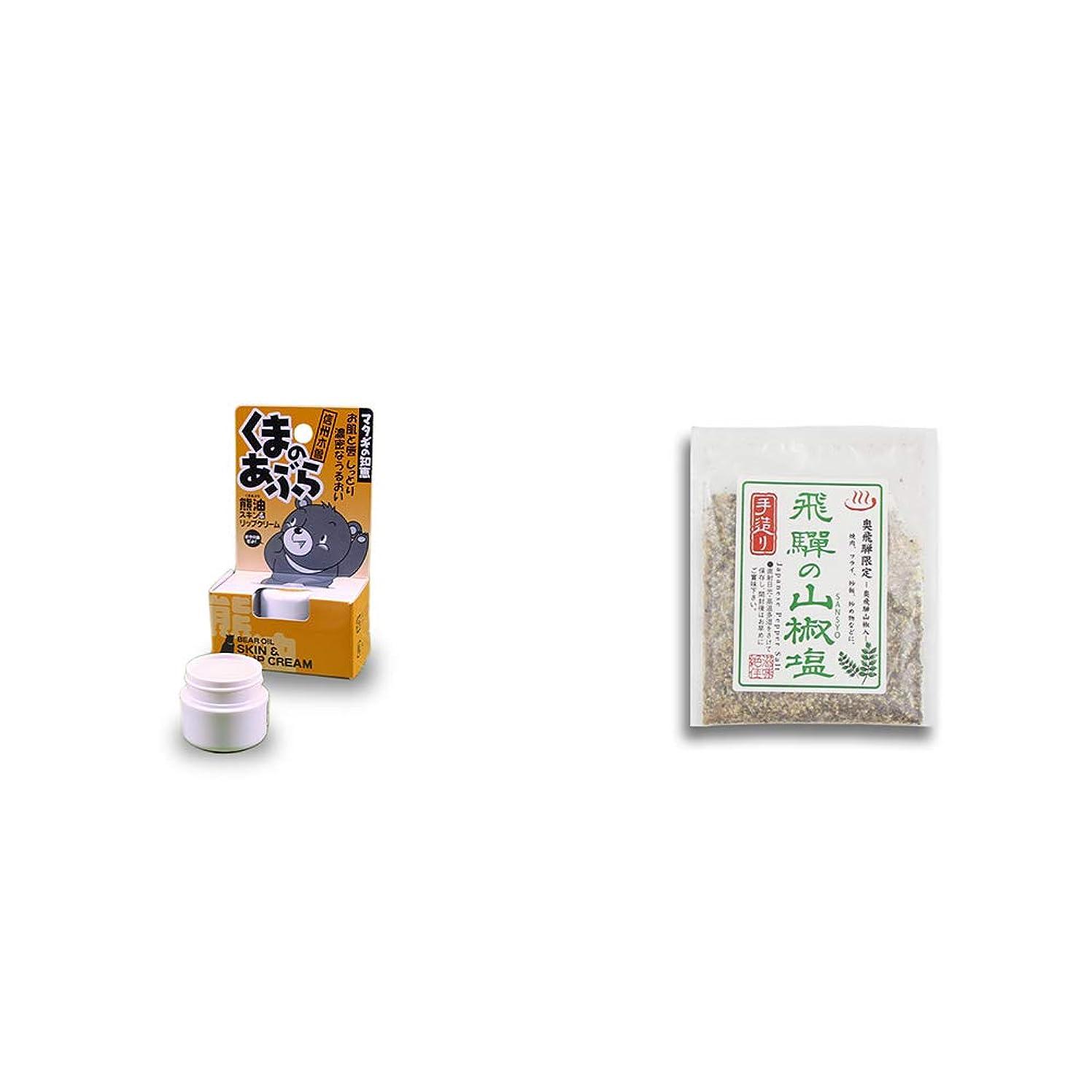 ミュージカルインレイサンダース[2点セット] 信州木曽 くまのあぶら 熊油スキン&リップクリーム(9g)?手造り 飛騨の山椒塩(40g)