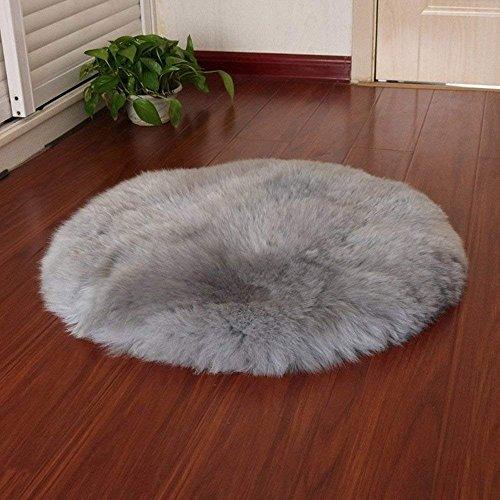 QINGLOU Peau de Mouton synthétique,Cozy Sensation comme véritable Laine Tapis en Fourrure synthétique, Fluffy Soft Longhair Décoratif Coussin de Chaise Canapé Natte (Gris(Ronde), 45 x 45cm)
