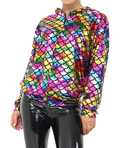 Islander Fashions Damen Meerjungfrau Rainbow Fish Bomberjacke Damen Metallic Summer Party Coat Medium/Large