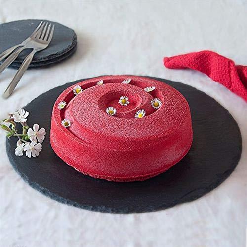 Belupai Moule en silicone rond Vortex en spirale pour décoration de gâteau, moule à pâtisserie et congélation