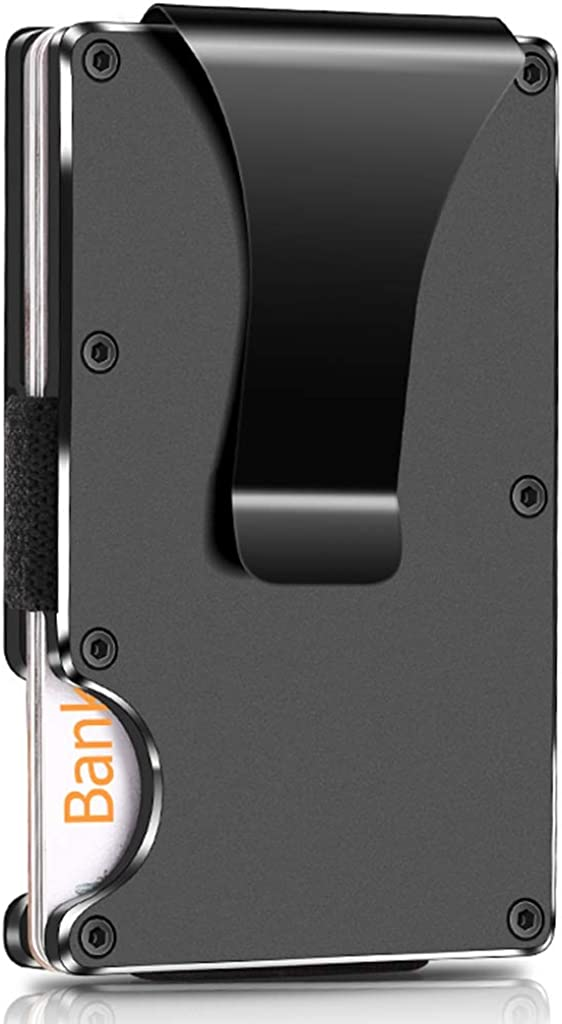 Slim Minimalist Metal Wallet, Credit Money Clip RFID Blocking Mens Wallet