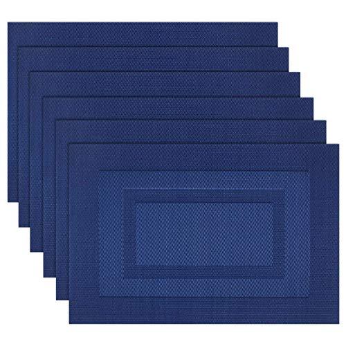 SHACOS 30x45 cm Manteles Individuales Lavables Azul Set de 6 Salvamantele Individuales PVC Resistentes para la Mesa de Comedor de Cocina