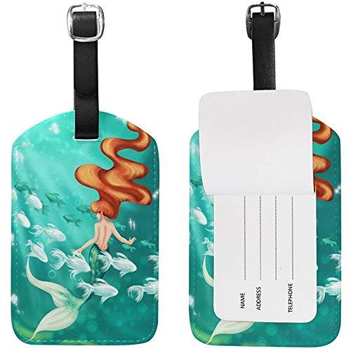 Carneg Kofferanhänger Fairy Tale Color Mermaid Tail Bunte Schuppen Travel Tag Name Kartenhalter für Gepäck Koffer Tasche 1 Stück