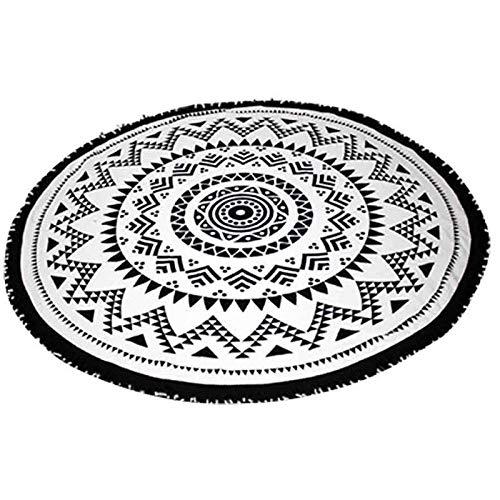 yijun outdoor product Beach blanket picnic camping mat tassel giant round beach towel calico pad shawl mattress (Color : Black, Size : 150cm)