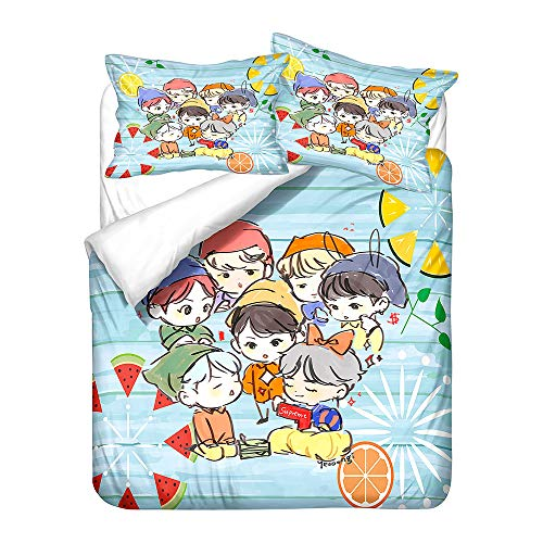 Meiju 3D Bedding Set, Duvet Cover Set Soft 3 Pieces with Microfiber Pillowcases & Zipper Closure Quilt Case Printed Effect for Boy Girl Single Double King Size Bed (BTS 9,200x200cm)
