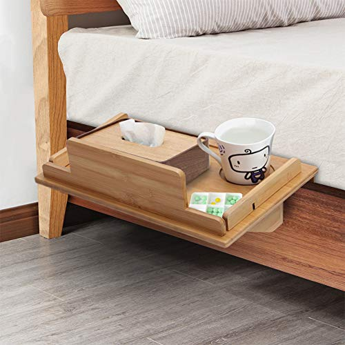Cocoarm Bedside Caddy, Natural Bamboo Bedside Shelf Attachable Bedside Table Nightstand Organizer Shelf Dorm Room Bed Tray for Students Multi-Functional Bedside Rack 40 x 27 cm