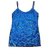 DFギャラリー キャミソール ダンス衣装 コスチューム スパンコール フロント片面 フリー(IA0128) ブルー