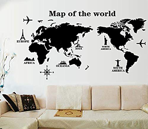 ufengke 'Viaggiare In Tutto Il Mondo' Mappa del Mondo Adesivi Murali, Camera da Letto Soggiorno Adesivi da Parete Removibili/Stickers Murali/Decorazione Murale, A