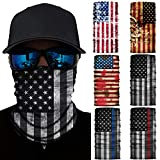 6 Pcs American Flag Outdoor Face Mask- Multifunctional Seamless Microfiber American Flag UV Protection Face Neck Gaiter Shields Headwear