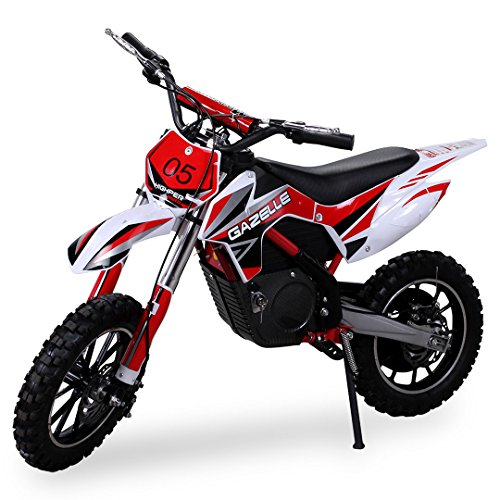 Actionbikes Gazelle - Minimoto de cross, motor eléctrico de 500 W, con embrague reforzado, color rojo