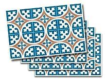 Desconocido Alfombra Vinílica con Estampado Hidraúlico LERONA   Alfombra PVC Antideslizante Cocina Salón y Pasillo Manteles Individuales (Pack 4 UDS 33x51 cm, LERONA Tostado)