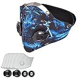 Masque Respiratoires Poussière Masques Masque Anti-pollution Anti-vent Anti-poussière pour Vélo Sport Moto Cyclisme Activités en Plein Air avec 5 filtres (Bleu)