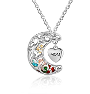 Personalized Sterling Silver Mothers Heart Necklace with Simulated Birthstones & Names Heart Moon Pendant Necklace Engraved Necklace Mother's Day Necklace for Mom
