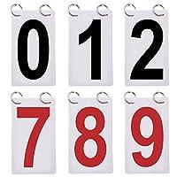 GOGO 6セット入り スコアボード 0-9 交換カード 数字カード 片側 得点カード スポーツ 球技 テニス バスケットボール用 - レッド/ブラック