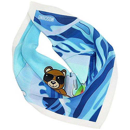 Moschino Seidentuch Bärchen und Delphin, ca. 50x50 cm, Blue