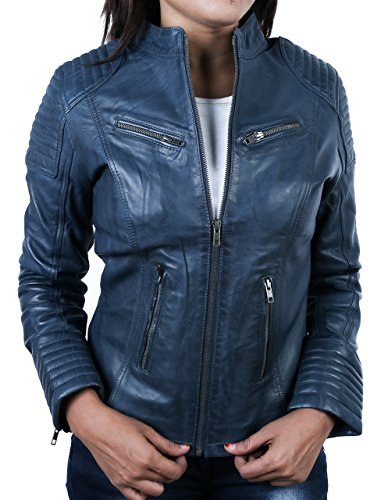 Coole Kurze Biker Damen Lederjacke LB01, Blau, Große : XL