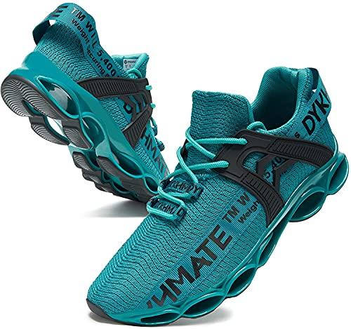 Mantimes Zapatillas de correr para hombre y mujer, ligeras, transpirables, de moda, sin deslizarse y amortiguar los golpes, para caminar (10.5 UK,verde)