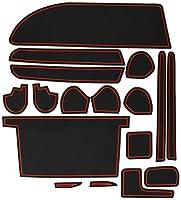 KINMEI(キンメイ) トヨタ VOXY ヴォクシー 80系 専用設計 赤 インテリア ドアポケット マット ドリンクホルダー 滑り止め ノンスリップ 収納スペース保護 ゴムマット TOYOTAvo-r